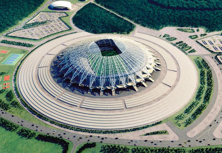 вид с высоты птичьего полета на стадион самара-арена