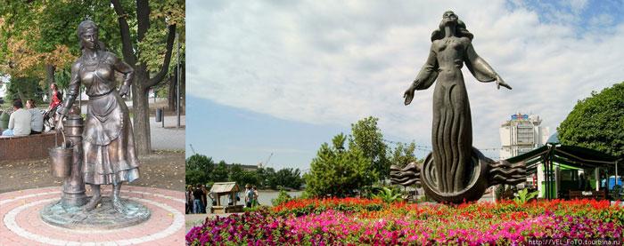 Памятники: водопроводу и ростовчанка