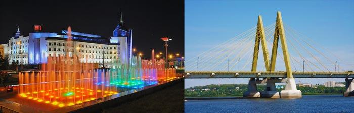 Казань, мост Милениум и каскад водопадов