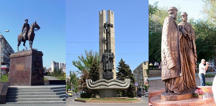 Памятники: маршалу Рокоссовскому, Памятный знак в честь 400-летия города, и Петру и Февронии