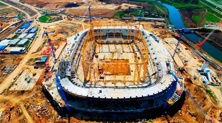Процесс и ход строительства стадиона в саранске