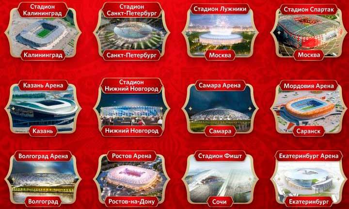 Вместительность новых стадионов на Чм 2018