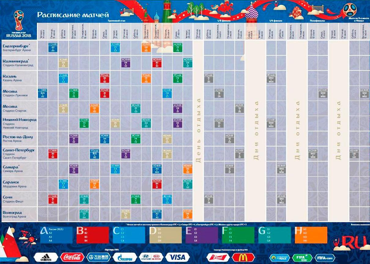 Расписание матчей Чемпионата мира 2018