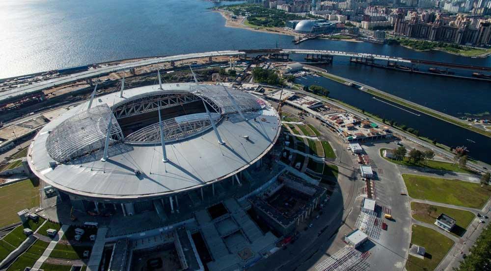 Вид стадиона в Спб сверху