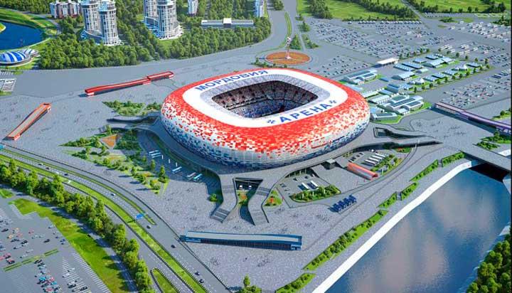 Стадион на берегу реки инсар