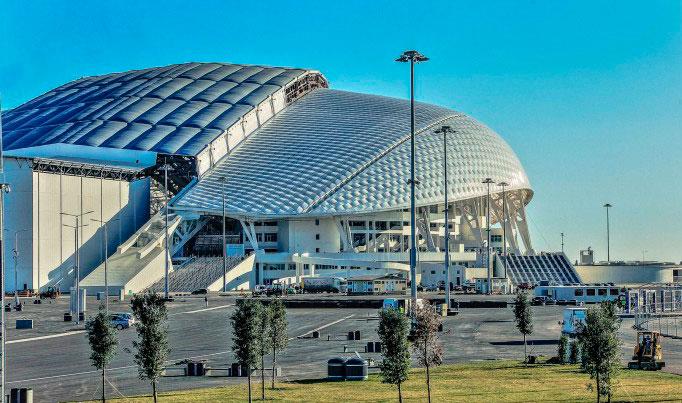 Вид на стадион Фишт в Сочи