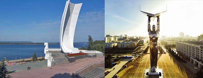 Самара: монумент Славы и стелла Ладья