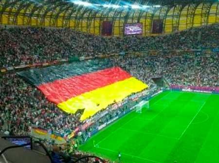 Флаг сборной германии на стадионе немцев
